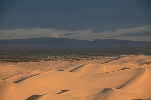 Moonrise over Algondones Dunes near Brawley, California